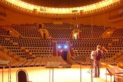 Andreas Hermeyer zur Mikrophonprobe im Tschaikowsky-Konzertsaal Moskau 2008